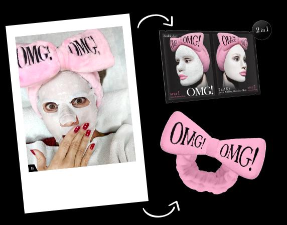 Blog- Kit 2 em 1 Detox Bubbling Microfiber Mask OMG! Double Dare Bandana para cabelos OMG! Double Dare Cor Rosa Claro -Lançamento-5